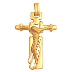 Złoty medalik,krzyżyk wzór-Qv048