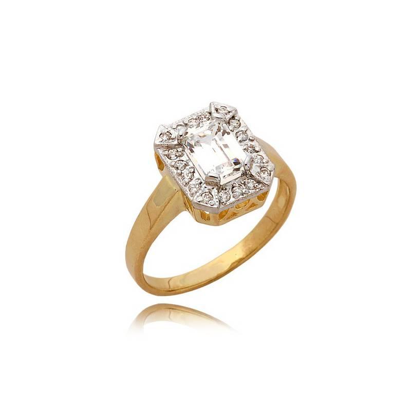 032a6c3466b123 Złoty pierścionek z cyrkoniami i prostokątnym kamieniem. Loading zoom