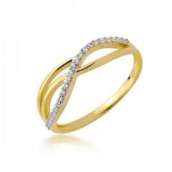 Piękny złoty pierścionek z cyrkoniami w kształcie fali
