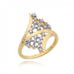 Śliczny złoty pierścionek z 22 cyrkoniami
