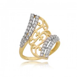 Śliczny złoty pierścionek z 40-oma cyrkoniami