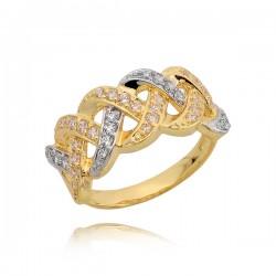 Piękny złoty pierścionek z przeplatanym wzorem i cyrkoniami