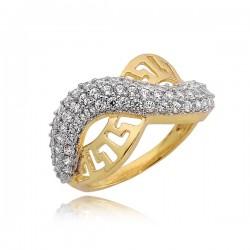 Złoty pierścionek z cyrkoniami w kształcie fali
