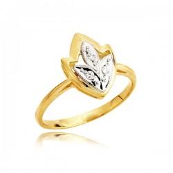 Złoty pierścionek z łezkami z białego złota z cyrkoniami