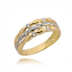 Klasyczny złoty pierścionek z cyrkoniami