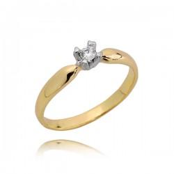 Delikatny złoty pierścionek, cyrkonie