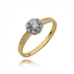 Piękny pierścionek ze złota, cyrkonie