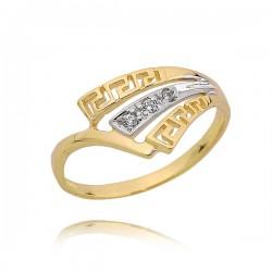 Złoty pierścionek zygzak, cyrkonie