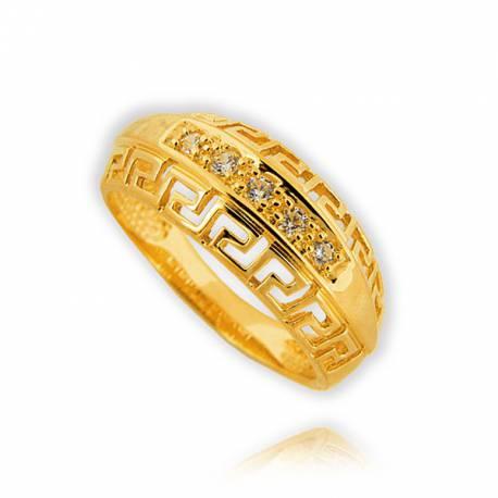 Śliczny złoty pierścionek zygzak
