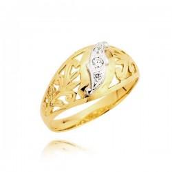 Złoty pierścionek z cyrkoniami osadzonymi na białym złocie