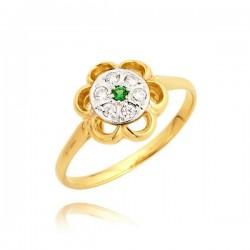 Śliczny pierścionek w kształcie kwiatu z zieloną cyrkonią