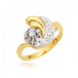 Efektywny pierścionek z małymi i dużą cyrkonią