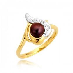 PIerścionek złoty z czarną perłą
