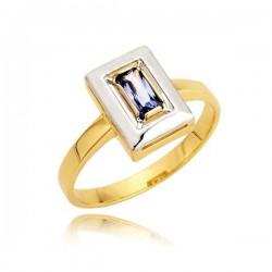 Złoty pierścionek z białym złotem i szafirem