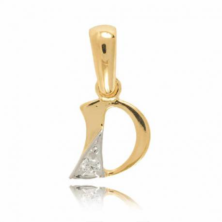 Wisiorek,złota literka z cyrkonią D