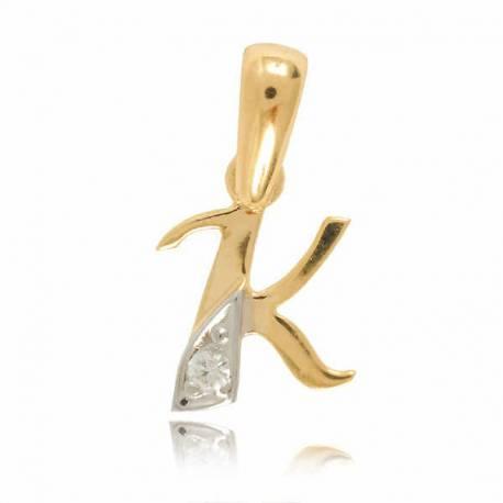 Wisiorek,złota literka z cyrkonią K