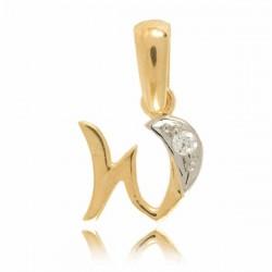Wisiorek,złota literka z cyrkonią W