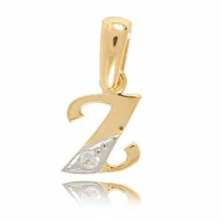 Wisiorek,złota literka z cyrkonią Z
