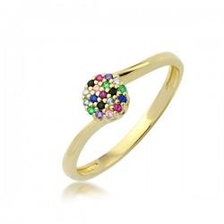 Złoty pierścionek złota kula P1930