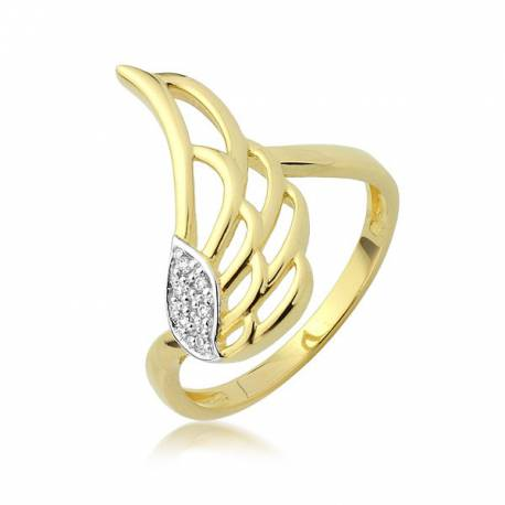 Złoty pierścionek skrzydło anioła P1933