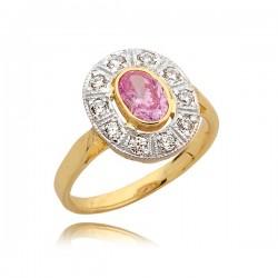 Pierścionek z różową cyrkonią