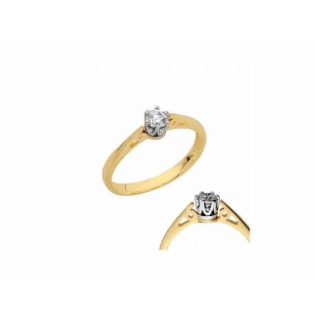 Złoty pierścionek z brylantem 0,14ct