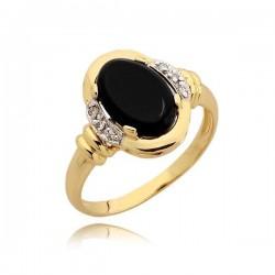 Złoty pierścionek z onyksem