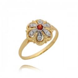 Ładny pierścionek z pomarańczowa cyrkonia