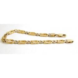 Złota bransoleta,gruba z żółtego i białego złota