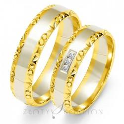 Obrączki ślubne z bialego i żółtego złota z kamieniami