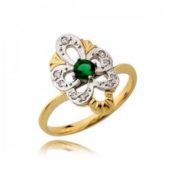 Efektowny pierścionek z zieloną cyrkonią