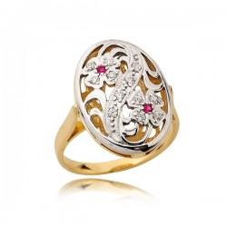Przepiekny pierścionek o kwiatowym wzorze z rózowymi cyrkoniami
