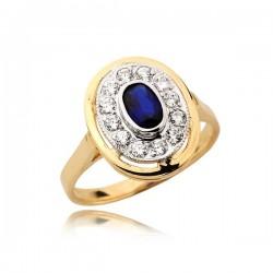 Elegancki złoty pierścionek z szafirem