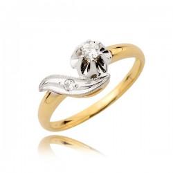 Pierścionek zaręczynowy z białego i żółtego złota