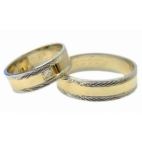 Obrączki, białe złoro i brylant,diamentowane
