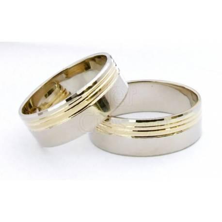 Obrączki białe i żółte złoto, 6mm