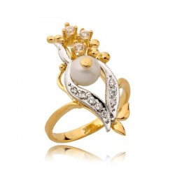 Efektowny pierścionek z żółtego i białego złota