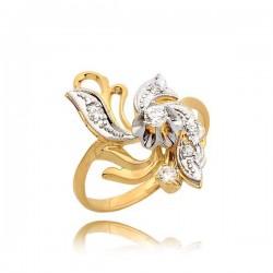 Piękny pierścionek z żółtego i białego złota
