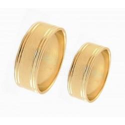 Płaskie,szerokie obrączki,żółte złoto.