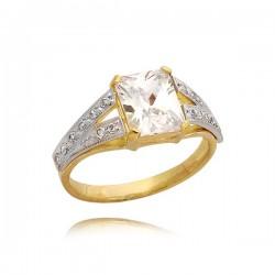Złoty pierścionek z granatem i z cyrkoniami