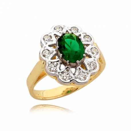 Złoty pierścionek z zieloną cyrkonią