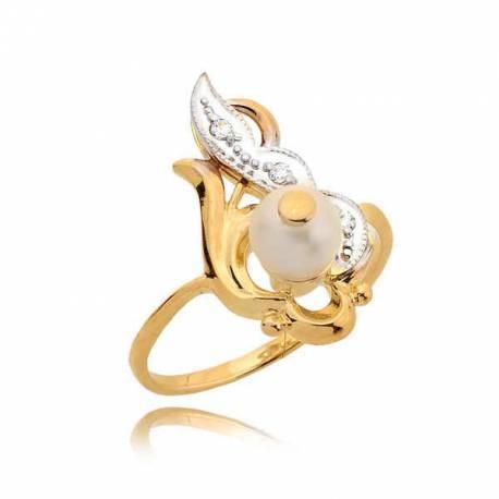 Śliczny złoty pierścionek z perłą