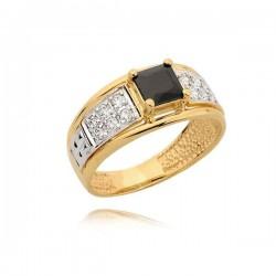 Efektowny pierścionek z czarną cyrkonią