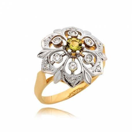 Pierścionek w kształcie kwiatka z żółtą cyrkonią