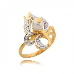 Piękny pierścionek z cyrkoniami i perłą