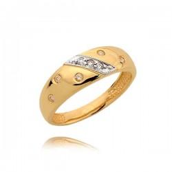 Orginalny złoty pierścionek z cyrkoniami
