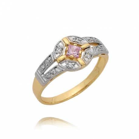 Złoty pierścionek z różową cyrkonią