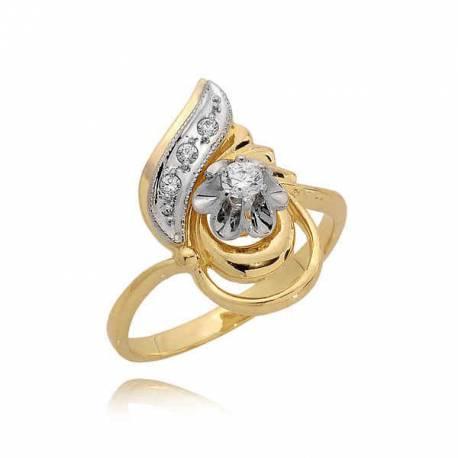 Efektowny złoty pierścionek z cyrkoniami