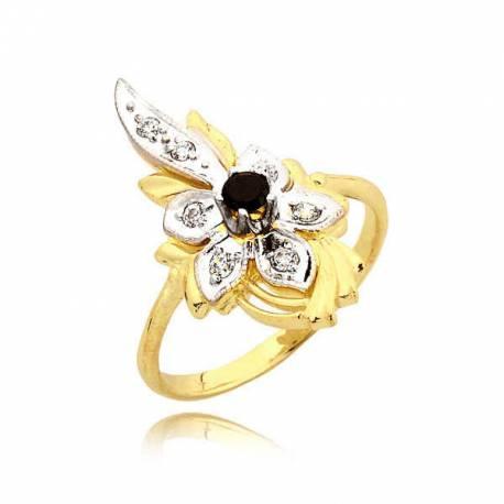 Śliczny złoty pierścionek z czarną cyrkonią