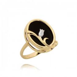 Efektowny pierścionek z onyksem
